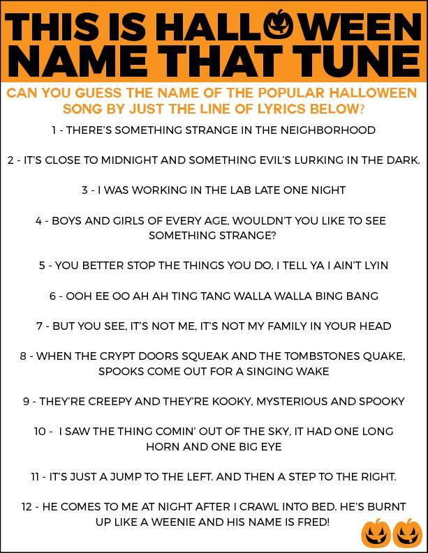 free printable halloween name that tune game - Halloween Name Ideas