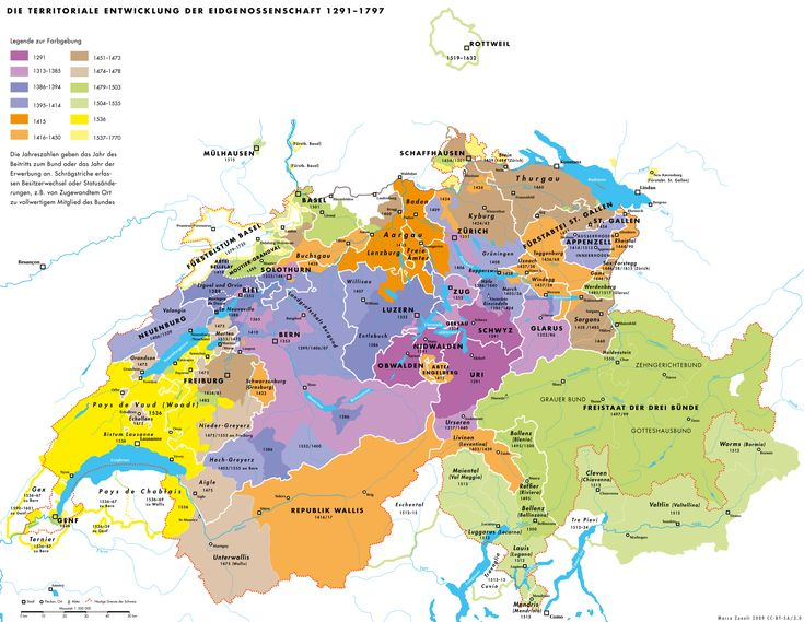 Territorial development of the Swiss Confederacy, 1291–1797