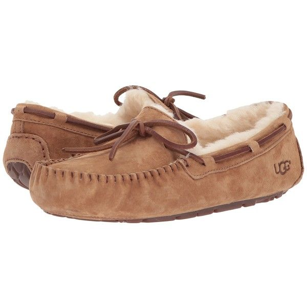 UGG Dakota (Chestnut) Women's Moccasin Shoes ($100) ❤ liked on Polyvore featuring shoes, slip on shoes, leather upper shoes, ugg australia, moccasin shoes and mocassin shoes