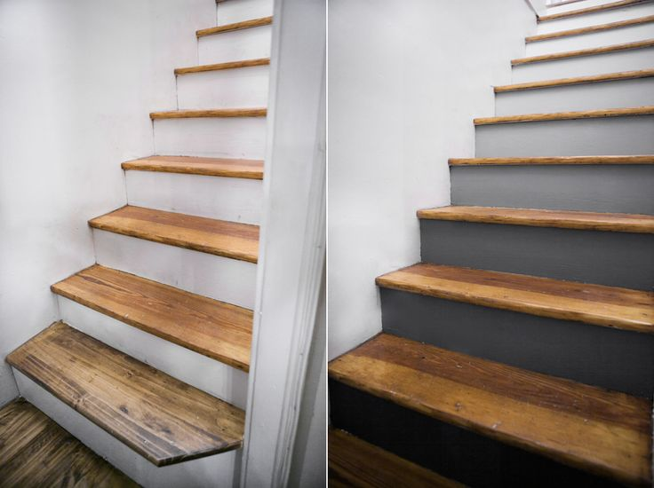 DIY Project - gradient stairs! white to grey to black to match the color of the stone on the fieldstone wall