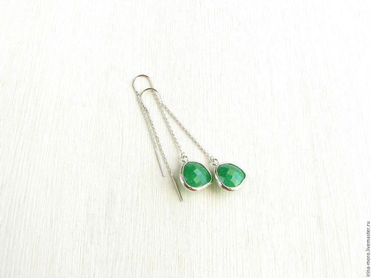 """Купить Серьги """"Лесное чудо""""зеленые серьги,серьги с цепочками,необычные серьги - зеленые серьги. Earrings """"Forest miracle"""" green earrings,earring chain,fancy earring #earring #jewelry #statementearrings #silverearrings   #dangleearrings #greyearrings #longearrings"""