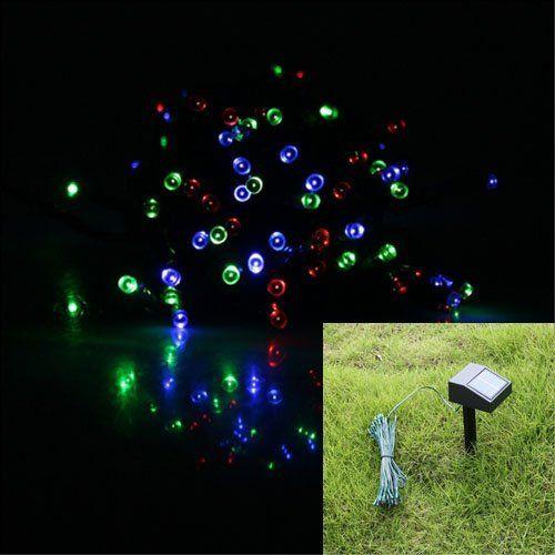 17M 55ft 100 LED Solar Powered String Lights Garden Decoration Christmas Wedding Light RGB Mixed ...