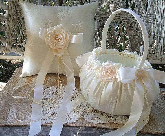 VICTORIA Flowergirl Basket & Ring Pillow by RoseGardenStitches
