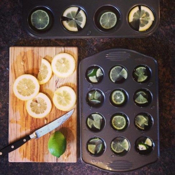 Make Lemon Ice Cubes with Muffin Tin