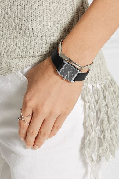 Isabel Marant - Stainless Steel And Leather Watch - Black - one size