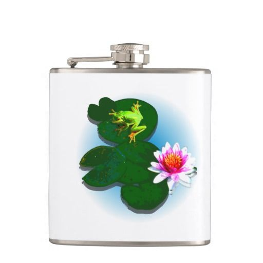 Frog On A Lily Pad Flask Flasks - This flask features a frog on a lily pad with a light blue fading water background. Change the background colour and add your own text to get it just the way you like it! http://www.zazzle.com.au/frog_on_a_lily_pad_flask_flasks-256639183879919736?rf=238523064604734277