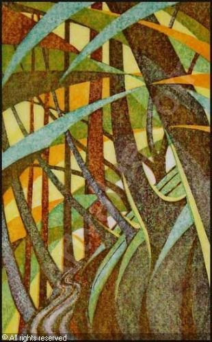 Trackway by Sybil Andrews, 1961. Linocut in 4 colours