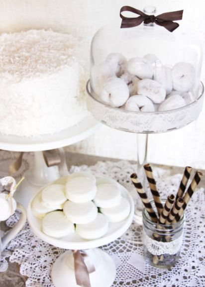 white party - love the idea of white donuts.  sorry, but what says church and First Communion like donuts?  ha! @Sarah Chintomby Heim