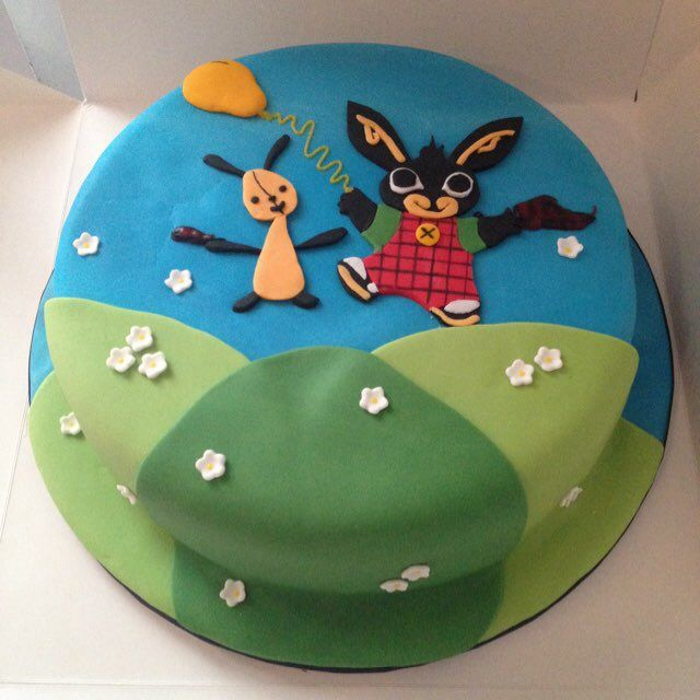 #BingBunnyCake, birthday character cake. #kidscakes Bing is a children's character on cbeebies and is displayed playing with his friend on this cake for a child's birthday which they thoroughly enjoyed. Check out more items on www.ftbake.co.uk