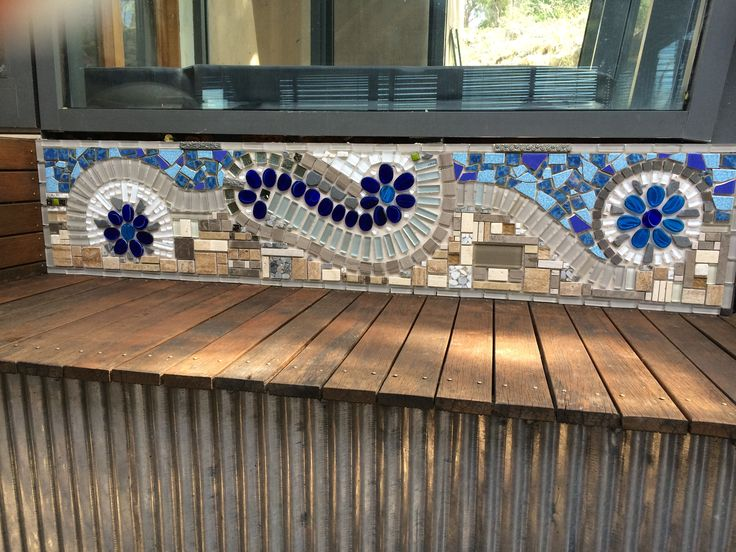 Mosaic made onsite, to highlight the spa room at the back deck. A special feature at our house!