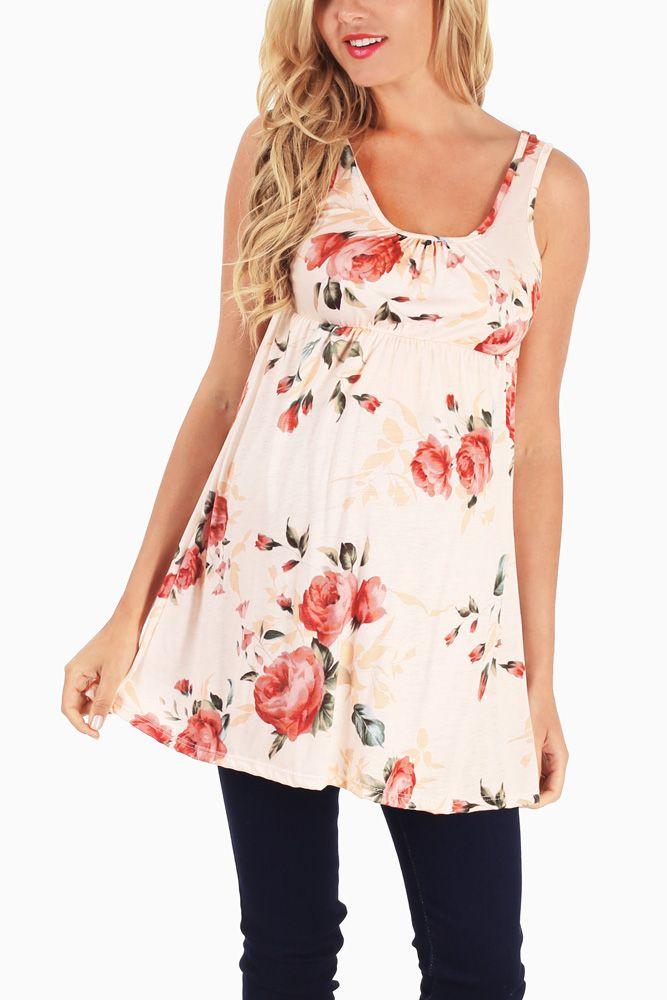 Light-Pink-Floral-Printed-Maternity-Tank-Top #maternity #fashion