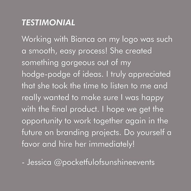 A lovely testimonial that I received this week from pocketful of sunshine events. To see the logo design see previous post.