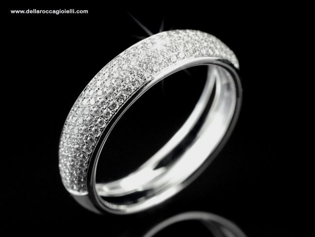 Anello Pavé - VDRH3104W  Anello a fascia in oro bianco 18 carati lucido Realizzato interamente a mano Diamanti taglio brillante