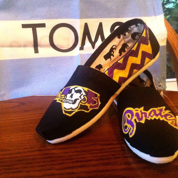 East Carolina university pirates hand painted toms