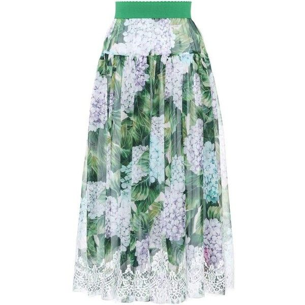 Dolce & Gabbana Lace-Trimmed Silk Skirt (6,620 AED) ❤ liked on Polyvore featuring skirts, midi & long, multicoloured, dolce gabbana skirt, silk skirts, lace trim skirt, multi colored skirt and green silk skirt