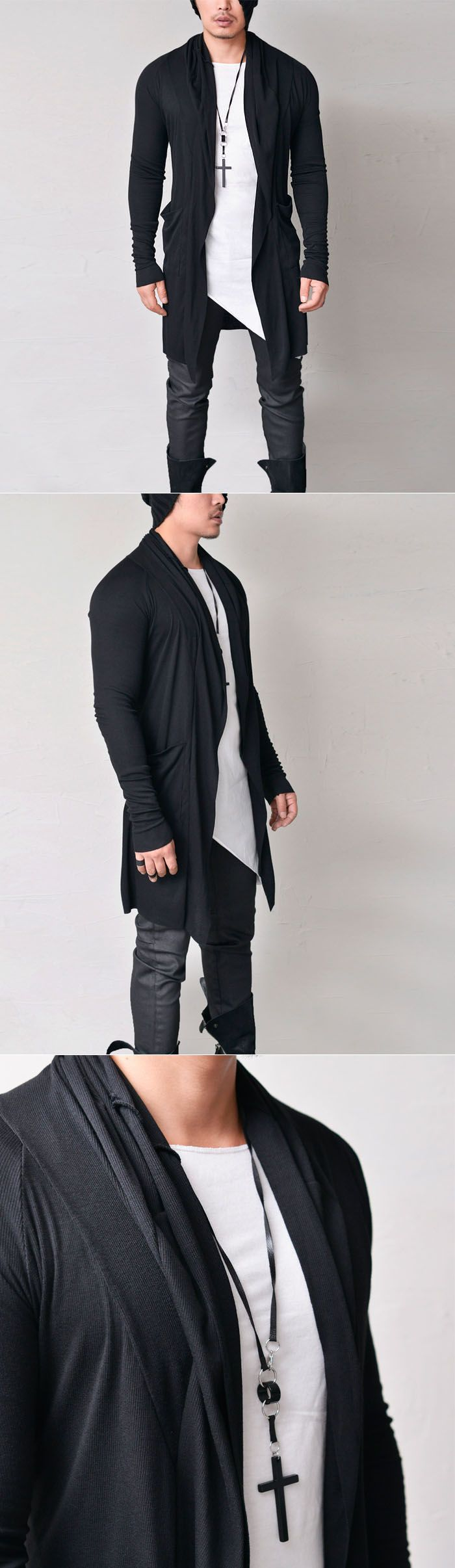 Extra Slim Long Shawl Jacket-Cardigan 190 by. Guylook.com  Great quality light-weight ribbed cottonblends Excellent flexibility & comfy snug fit
