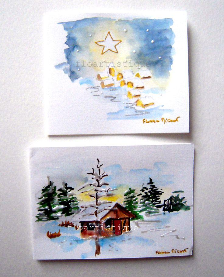 Cartes de Voeux nature enneigée - peintes à la main