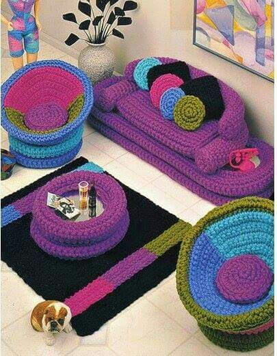 Barbies crocheted living room