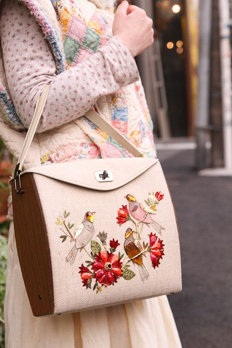 LOVE!!!! Everything about this embroidered bag with wooden panel sides