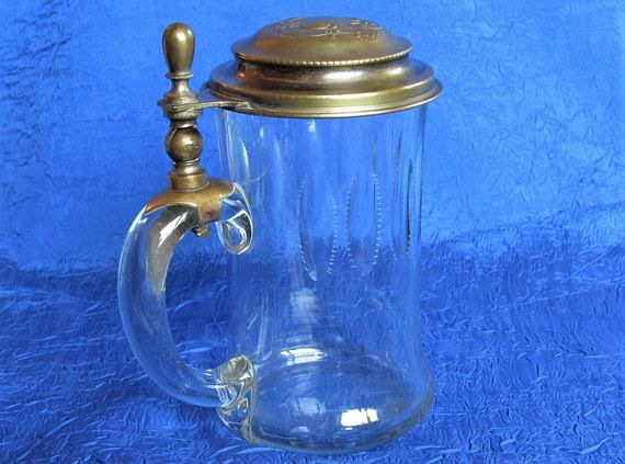 1880s 1890s Antique German Glass Beer Stein lidded old ball