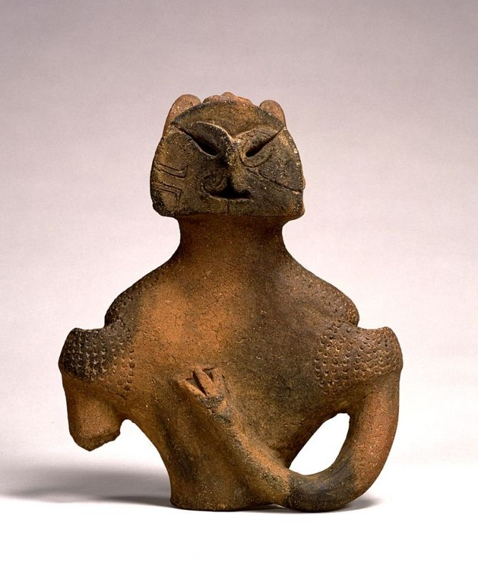 From Kamikurokoma, Misaka-cho, Yamanashi.  Jomon Period.  3000-2000 B.C.E. - A dogu, prehistoric Japanese clay figurines representing humans and animals that are felt to have been used in sympathetic magic - shamanic healing, fertility and funerary rites. It is also suggested that some of the dogu represent mother goddesses.