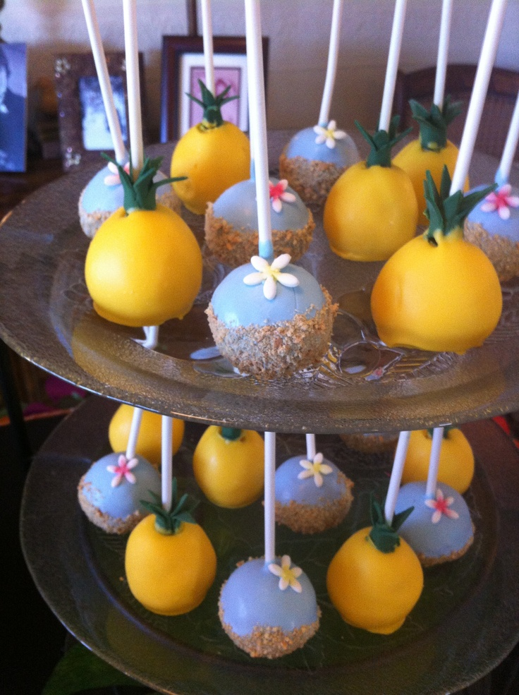 pineapple cakepops, hawaiian luau party