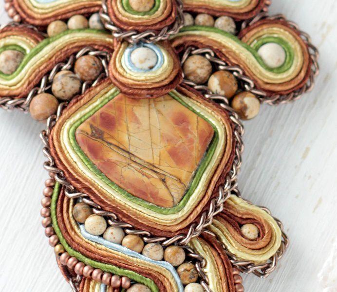 Купить Сутаж колье Песни Инков, стиль бохо, натуральная яшма - сутаж колье