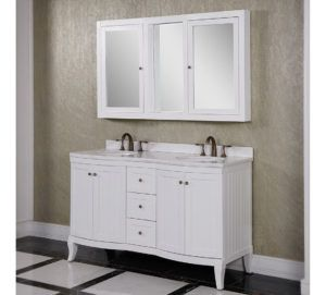 White Double Mirror Bathroom Cabinet