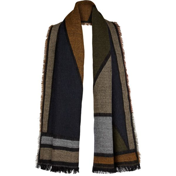 V By Very Colour Block Blanket Scarf ($25) ❤ liked on Polyvore featuring accessories, scarves, navy scarves, navy blue scarves, navy shawl, blanket scarf and navy blue shawl