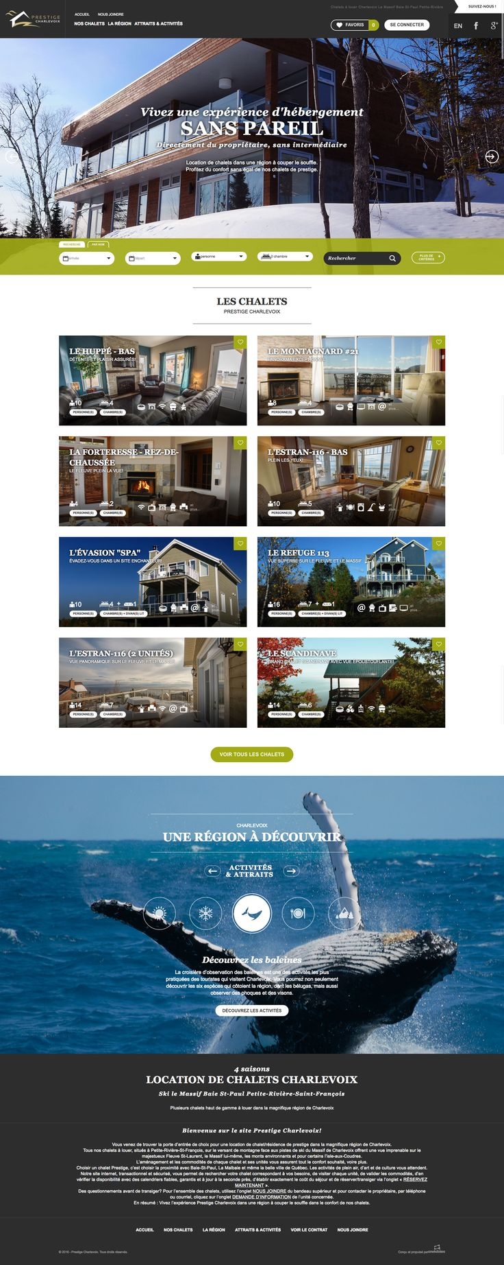 Nos Réalisations: Le nouveau site de location de chalets. Chalets à louer Charlevoix Le Massif Baie St-Paul Petite-Rivière #chalets #plein-air #Charlevoix #webdesign