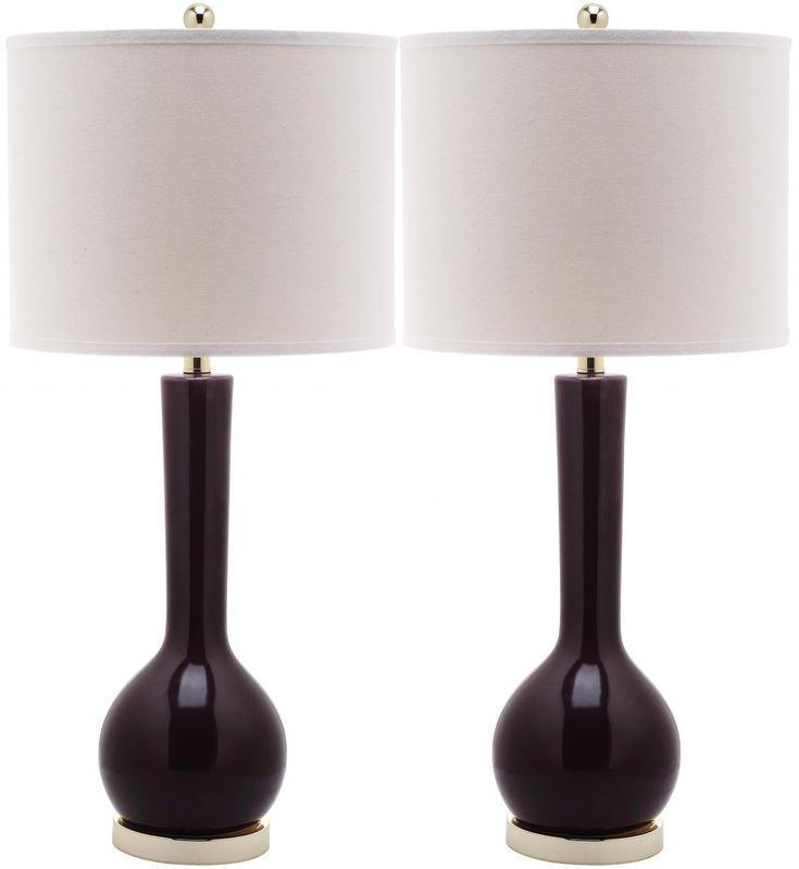 Safavieh Mid-Century Single Gourd Ceramic Table Lamp in Dark Purple, Set of 2 | $229.98