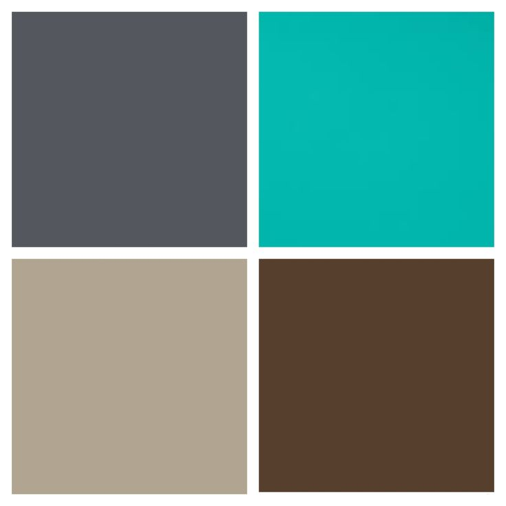Bedroom color palette - slate gray / storm grey, turquoise / ocean blue, beige / taupe & rich brown / chocolate. Neutral palette with pops of color, both masculine & feminine.