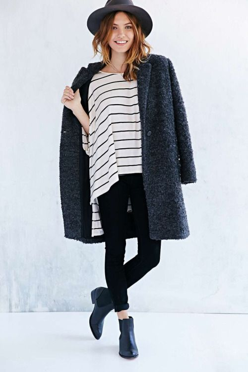 fall layering done right // ankle boots, oversized coat, black denim and stripes. top with perfect hat and go!