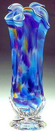 """Sacred Rainbow"" - Blown Glass Vase Fluted"