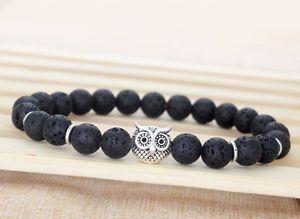 2015 Mens Beaded Bracelets Lava Rock Stone Beads Owl Energy Bracelets Gifts M1 | eBay