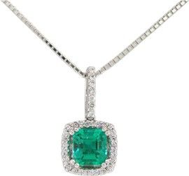 18K white and yellow gold emerald and diamond pendant necklace with 0.77 Ct. genuine emerald cut natural emerald and 0.11 Ct. t.w. in 24 round cut diamonds by www.GreenInGold.com #emeralds #pendant #necklace
