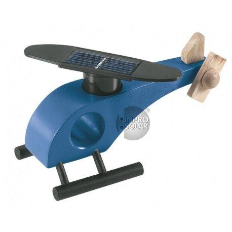 Elicopter din lemn cu motoras solar. Ideal pentru decor sau poate fi folosit cu scop educativ.Functioneaza cu lumina solara sau halogen.Culoare albastru.