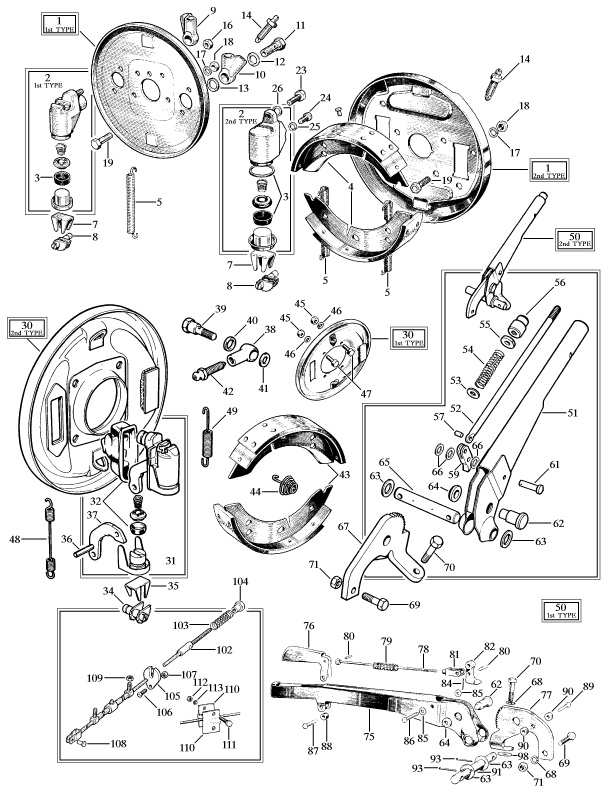 Morris Minor: 1st and 2nd Type Drum brakes assemblies. v@e