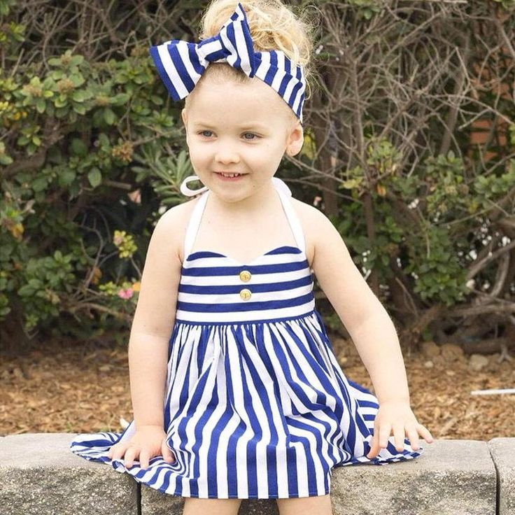 >> Click to Buy << Navy Blue Summer Girls Dress 2017 New Stripe Dress + Hairband Girls Clothes Sleeveless Kids Dress for Baby Girl Vestido Meninias #Affiliate