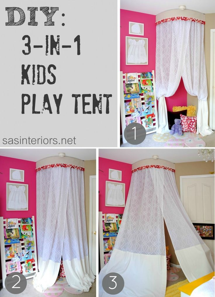 DIY: 3 in 1 Kids Play Tent (a friend made something similar, but used a piece of PVC pipe to curve at the top, drilled the ends into the wall, shirred the fabric panels over it, and used hooks to suspend it from the ceiling)
