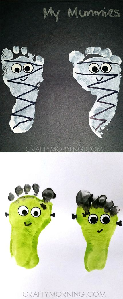 Footprint Mummies and Frankensteins - easy Halloween kids'craft!