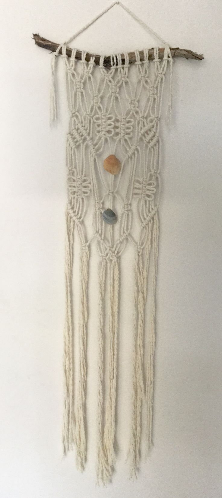 Macrame natural cotton and driftwood wall hanging