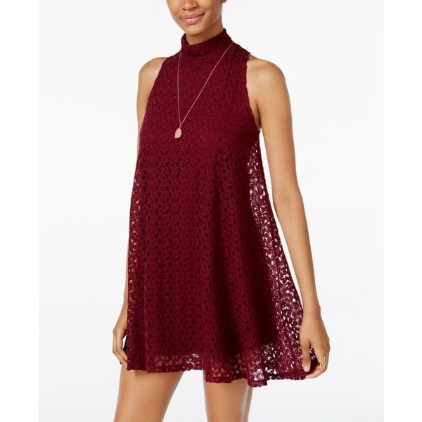 Planet Gold Juniors' Crocheted Shift Dress ($39) ❤ liked on Polyvore featuring dresses, burgundy, burgundy red dress, shift dress, macrame dress, red crochet dress and planet gold dresses