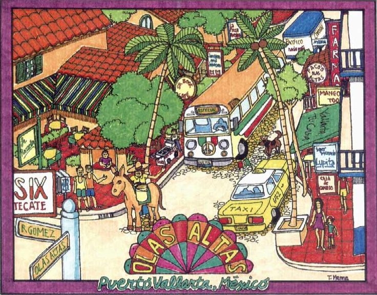 """Watercolor drawing of Olas Altas street. Art work thanks to Lawrence """"Twig"""" Menne.  More tourist info on gay Puerto Vallarta travel & rentals:   www.discoveryvallarta.com/Tourist.html"""
