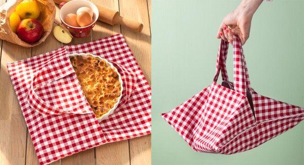 Chic et pratique, le sac à tarte en vidéo. (40 x 80 cm pour le sac en trois parties, le tissu le molleton et la doublure et 6,5 x 41 cm pour les anses x 2 X 2 tissus) (http://www.prima.fr/mode-beaute/chic-et-pratique-le-sac-a-tarte/799614/)
