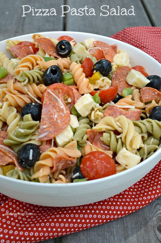 Pizza Pasta Salad has all the great flavors of a pizza. It's a fantastic summer side that the whole family will enjoy.