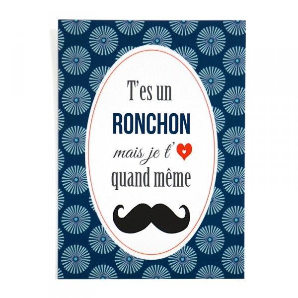 Carte postale: T'es un ronchon, mais je t'aime quand même