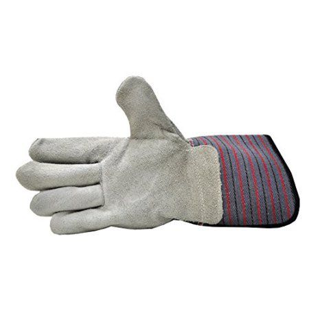 G ; F 5025L-5 Premium Suede Leather Work Gloves with Extra Long Rubberized Safety Cuff, 5 Pair Pack., Gray