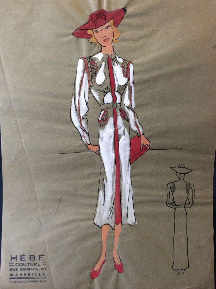 Art déco croquis de mode calque robe signée Hébé couture circa 1938 | eBay