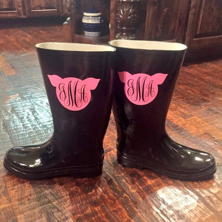 My mom made me these with her Cricut machine  #rain #rainboots #boots #pig #monogram